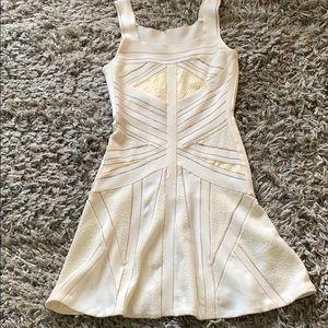 Herve ledger stretchy  cream flare bandage dress s